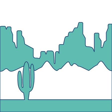 緑ベクトル イラスト画像がサボテンと山と砂漠の風景