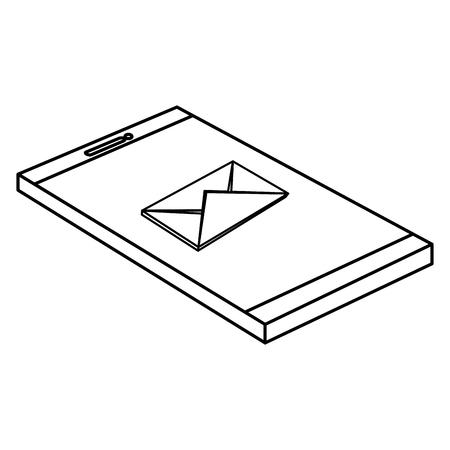 smartphone device with envelope vector illustration design Illustration