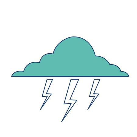 cloud lightning bolt storm natural climate vector illustration image green
