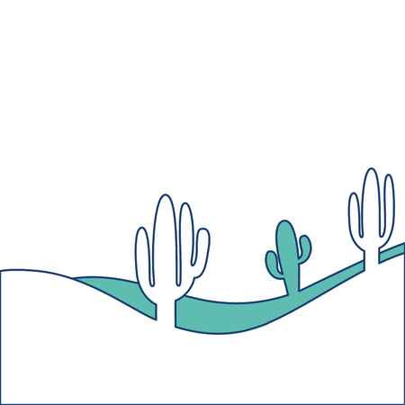 landscape desert with cactus plant sand vector illustration image green Фото со стока - 90828939