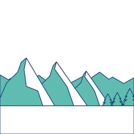 landscape natural peak mountains snow tree pine vector illustration