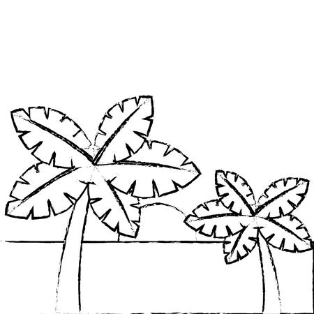 tropische twee palmbomen en zon oceaan paradijs vector illustratie
