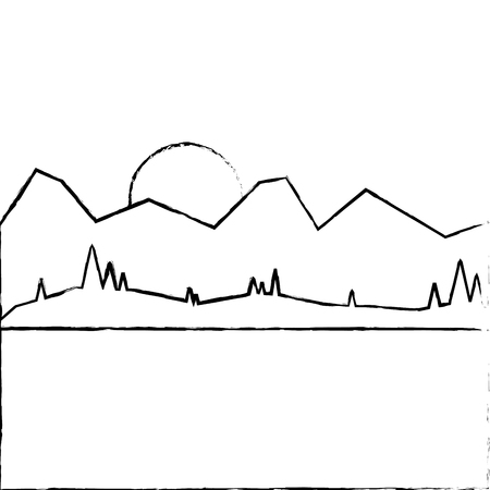 山の太陽の森草ベクトルイラストと風景  イラスト・ベクター素材
