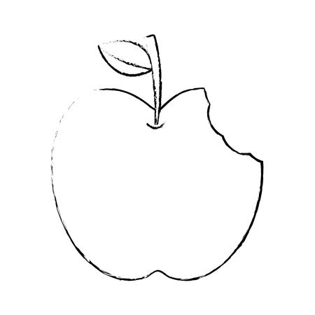녹색 잎과 물린 음식 사과 벡터 일러스트와 함께 사과 일러스트