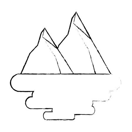 two mountain natural flora land scene vector illustration
