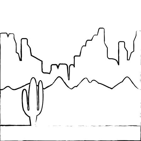 サボテンと山ベクトルイラストと砂漠の風景