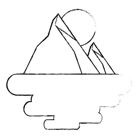 two mountain sun natural flora land scene vector illustration