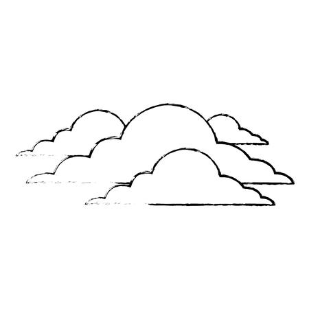 구름, 날씨, 흐린, 일, 장면, 벡터, 일러스트 레이션,