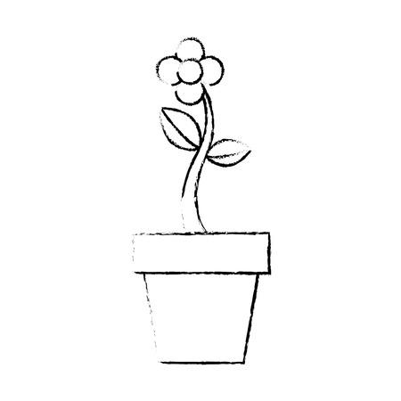 potted flower natural plant decoration vector illustration
