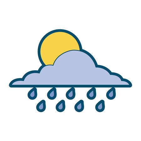 cloud sun and drops rain weather sky vector illustration