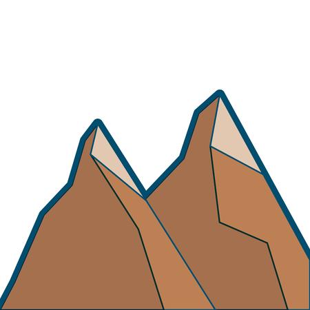 2つの山の自然植物の土地の場面ベクトルイラスト  イラスト・ベクター素材