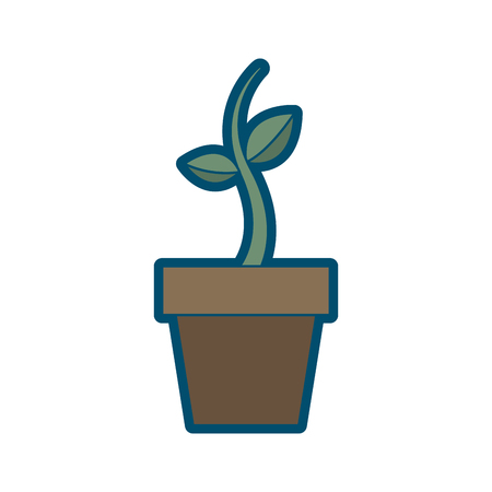 화분에 심은 성장 플랜트 천연 식물 식물 벡터 일러스트 레이션