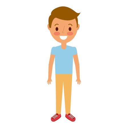 young boy kid smiling happy gesture vector illustration Illustration