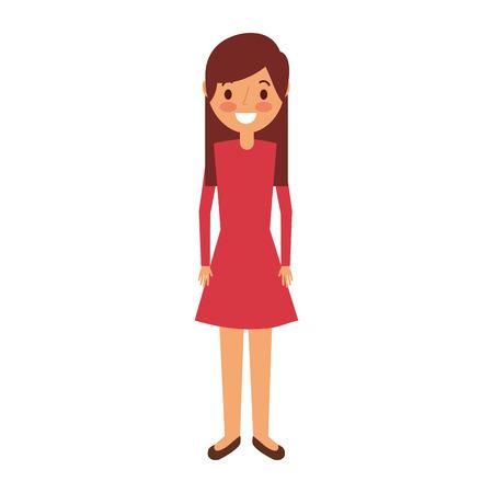 Junges Mädchen der Karikatur, das lächelnde Vektorillustration steht Standard-Bild - 90829265