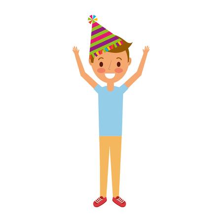 young boy with birthday hat raising arms celebration vector illustration Çizim
