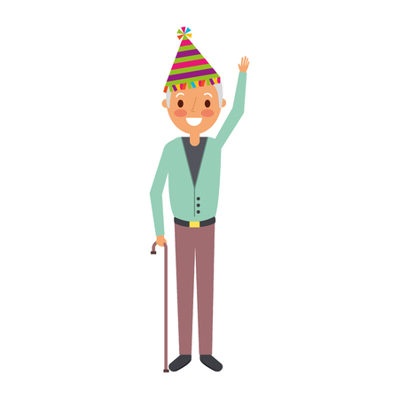 older man grandpa wearing birthday hat hand up vector illustration