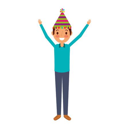 Hombre de dibujos animados con sombrero de cumpleaños y los brazos arriba ilustración vectorial feliz Foto de archivo - 90829271