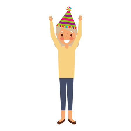 grandma happy wearing birthday hat with arms up vector illustration Illustration