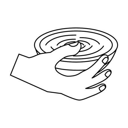 Hand hält Schüssel Suppe köstliche Ernährung Vektor-Illustration Standard-Bild - 90829277