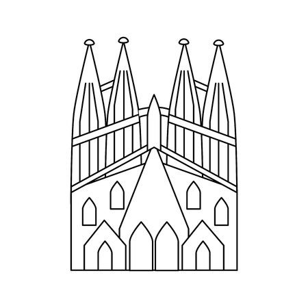 sagrada familia gaudi basilica temple church in barcelona spain vector illustration Иллюстрация