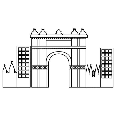 Arco trionfale di Barcellona Spagna sito storia illustrazione vettoriale Archivio Fotografico - 90829307