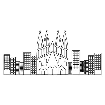 サグラダファミリアガウディ大聖堂教会でバルセロナスペインベクトルイラスト
