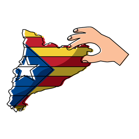 hand holding map of catalonia independent nationalist flag Banco de Imagens - 90829319