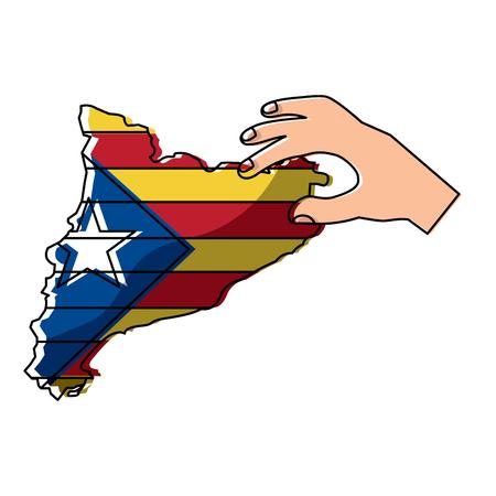 Mano che tiene la mappa della bandiera nazionalista indipendente della Catalogna Archivio Fotografico - 90829319