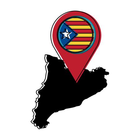 独立カタルーニャ州の地図=独立国家主義者ピンフラッグ社会主義運動ランドマークベクトルイラスト