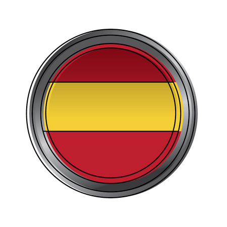 spain flag round national round button icon on white background vector illustration Illustration