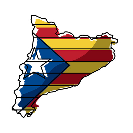 map of catalonia and flag patriotism independence vector illustration Ilustrace