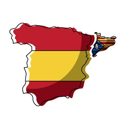 Spanje kaart en Catalonië vlag onafhankelijkheid vector illustratie Stock Illustratie