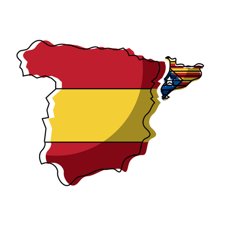 spain map and catalonia flag independence vector illustration Illustration