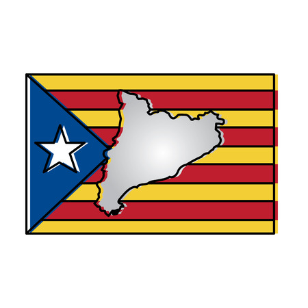 map and flag of catalonia spain independence landmark vector illustration