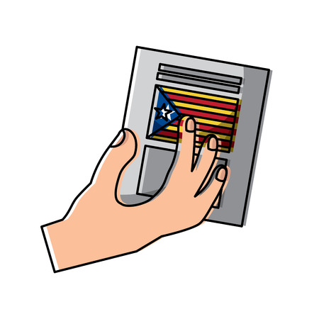 hand with voting ballot catalonia referendum vector illustration Çizim