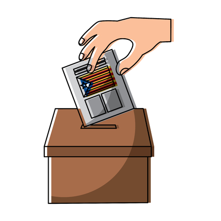 hand inserting a paper ballot voting in independence catalonia vector illustration Reklamní fotografie - 90829349