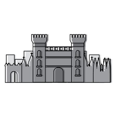 catalonia castle monument famous historic vector illustration