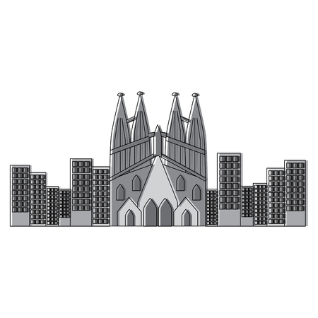 sagrada familia gaudi basilica temple church in barcelona spain vector illustration 向量圖像