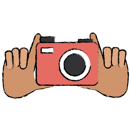 hands with photographic camera vector illustration design
