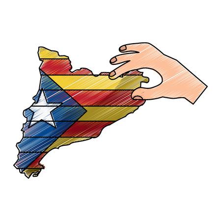 카탈로니아 독립 민족주의 국기의 손 잡고지도