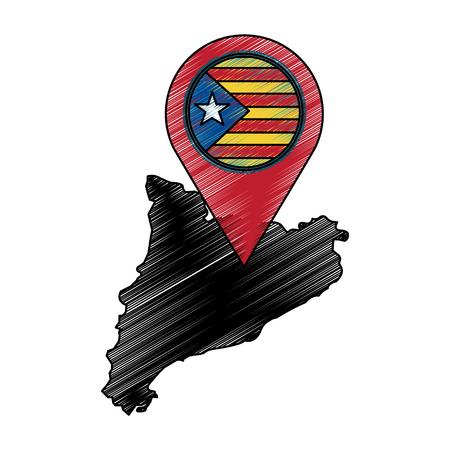 map of independent catalonia nationalist pin flag socialist movement landmark vector illustration Illustration