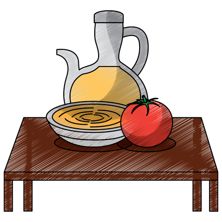 table with bowl soup and tomato bottle oil kitchen elements vector illustration Illustration
