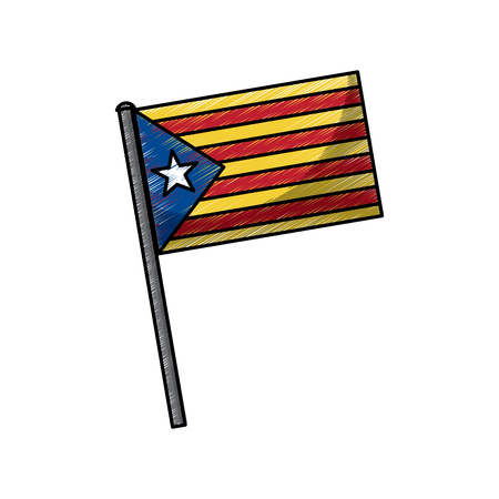 catalonia flag post nationalism symbol vector illustration