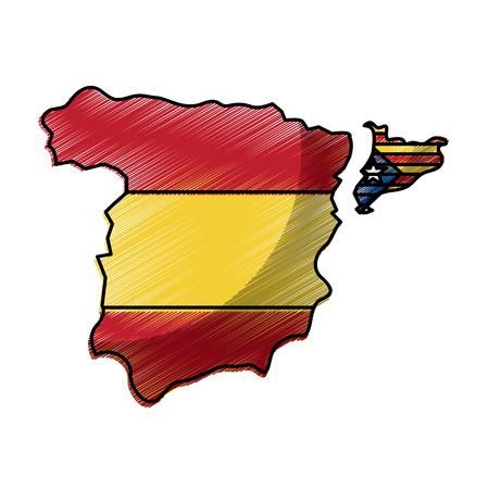 スペイン地図とカタルーニャフラグ独立ベクトルイラスト  イラスト・ベクター素材