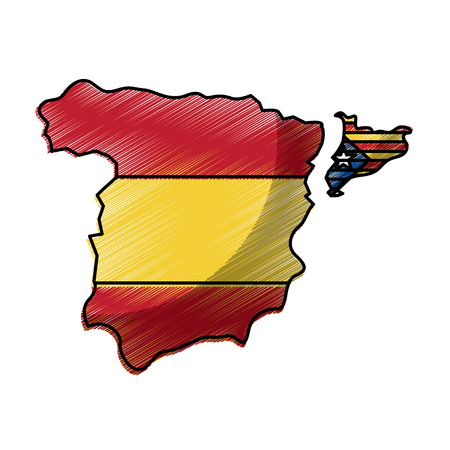 spain map and catalonia flag independence vector illustration Stock Illustratie