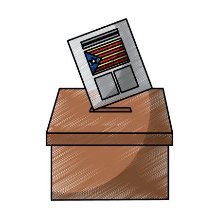 vote box ballot catalonia democracy referendum independence vector illustration Illustration