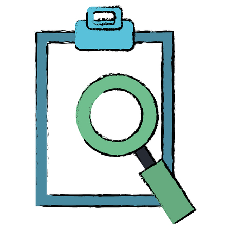 cheklist clipboard with magnifying glass vector illustration design