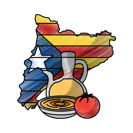 catalonia flag shape map nation independence and cream food tradition vector illustration Ilustração