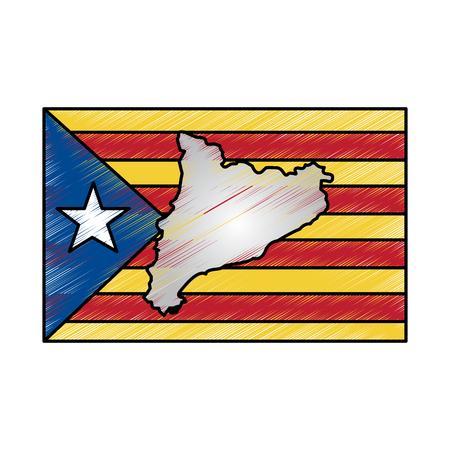 지도 및 카탈로니아 스페인의 국기 독립 랜드 마크 벡터 일러스트 레이션 일러스트