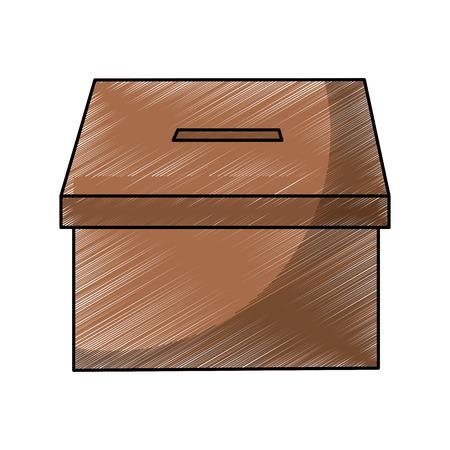투표 선거에 대 한 골 판지 상자 벡터 일러스트 레이 션 일러스트